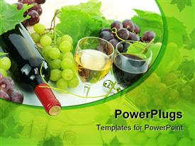 Wine and grapes with grape plant all over template for powerpoint