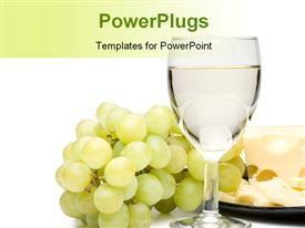 Wine in a glass grapes and cheese powerpoint design layout