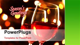 PowerPoint template displaying close up view of two wine glasses over shinning lights