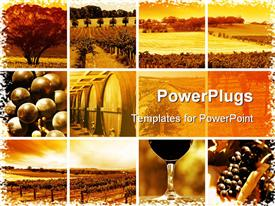PowerPoint template displaying collage of twelve icons depicting various trees, fields, grapes, winery, and wine related things on rusty yellow background