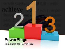 PowerPoint template displaying 1St Place schedule of winner 123 units in the background.