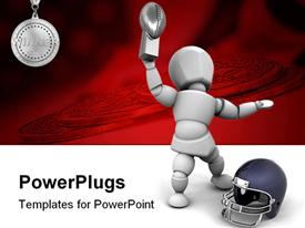 PowerPoint template displaying american football player holding up the winners trophy in the background.