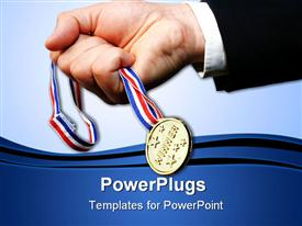 Businessman grabbing gold medal against blue sky powerpoint template