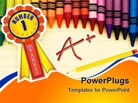 PowerPoint template displaying colorful crayons on lined paper with pencil and a+ grade and ribbon with number 1 winner