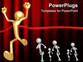PowerPoint template displaying winning metaphor with man running through red ribbon at end of race, finish line