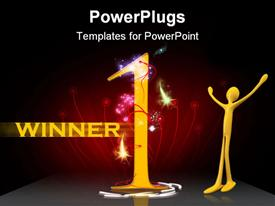 PowerPoint template displaying human figure with a huge number 1 and Winner text