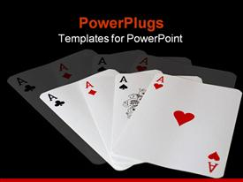 Four aces playing cards template for powerpoint