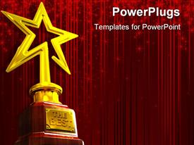 PowerPoint template displaying red glowing curtain background with gold star award for