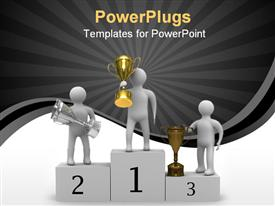 PowerPoint template displaying award presentation of gold, silver and bronze trophy on stage