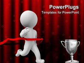 PowerPoint template displaying a person running towards the cup