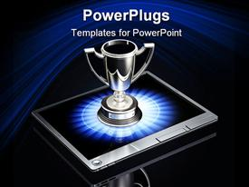 PowerPoint template displaying large silver trophy sitting top of a silver tablet computer in the background.
