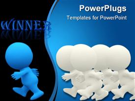 PowerPoint template displaying man winning a race in the background.