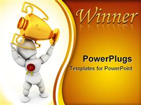Person holding a first prize trophy powerpoint theme