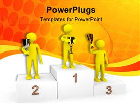 Persons on podium powerpoint template