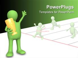 Puppet - sportsman holding in hands a cup. Objects over white powerpoint design layout