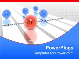 PowerPoint template displaying red sphere crosses finish line on running track before four blue spheres