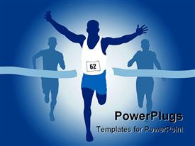 PowerPoint template displaying winning runner crossing race finish line