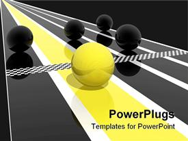 PowerPoint template displaying yellow ball winning race rolling over checkered finish line