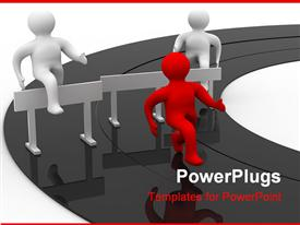 PowerPoint template displaying animated depiction of three red and white human figures running