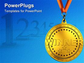 Winners with cups. Isolated 3D image powerpoint template