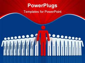 PowerPoint template displaying team leader on blue background - digital artwork in the background.