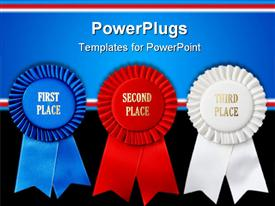 PowerPoint template displaying close up of first three places ribbons, blue first place ribbon, red second place ribbon white third place ribbon on black and blue background with red and white stripes