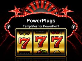 PowerPoint template displaying 777 - winning in slot machine