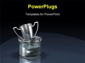 PowerPoint template displaying silver trophy floating in glass filled with colorless liquid