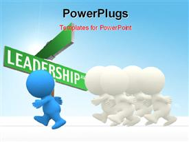 Man winning a race isolated over a white background powerpoint design layout