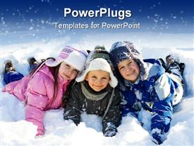 Happy sister with brothers having fun on snow template for powerpoint