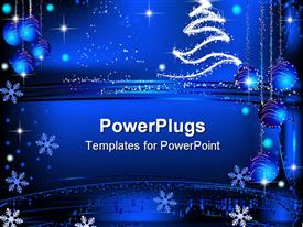 PowerPoint template displaying blue background with snowflakes and Christmas decorations