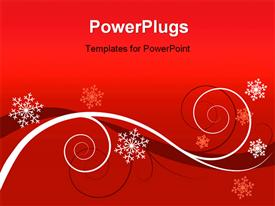 Winter red floral background (Christmas greeting card) powerpoint design layout