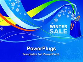 Winter sale in the store on a blue background powerpoint template