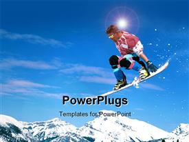 Skier jumping down a mountain side powerpoint template