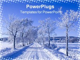 Cold winter way powerpoint design layout