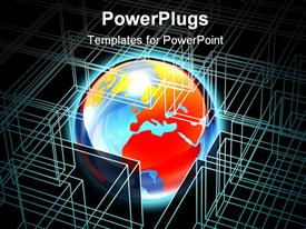 PowerPoint template displaying glowing world surrounded by wire frame, IT, computer science