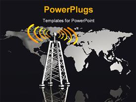 PowerPoint template displaying metallic radio tower with glowing orange radio waves and world map in background