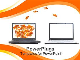Goldfishes jumping between laptops for a better home powerpoint theme