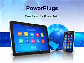 PowerPoint template displaying wireless communication concept - tablet PC and touch screen Smartphone with blue Earth globe in the background.
