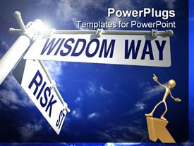 PowerPoint template displaying street post with risk street and wisdom way signs in the background.