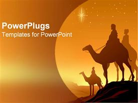 PowerPoint template displaying three wise men stand together
