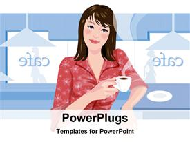 PowerPoint template displaying a pretty smiling lady holding a cup with liquid in it