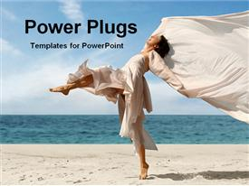 PowerPoint template displaying woman jumping on beach