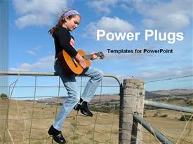 PowerPoint template displaying young girl playing guitar sitting on top of fence in countryside scenery