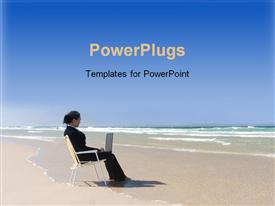PowerPoint template displaying business woman sitting on a beach chair working on laptop on beach near the ocean