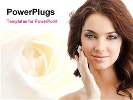 PowerPoint template displaying attractive smiling woman portrait