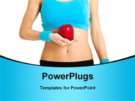 PowerPoint template displaying healthy young woman in blue with red apple in hand over white background