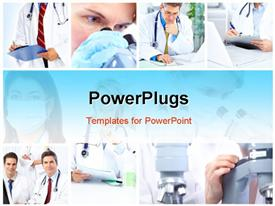 PowerPoint template displaying woman working with a microscope in a lab