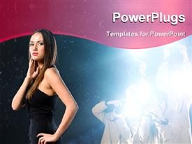 PowerPoint template displaying famous woman is posing for depictions on background