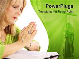 PowerPoint template displaying woman holding rosary with palms placed together praying over bible
